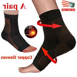 1 Pair Magnetic Copper Compression Relief Ankle Support Brac