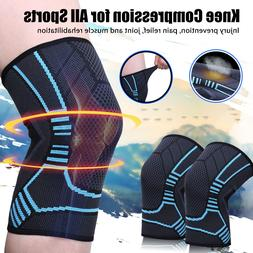 2x Pair Knee Sleeves Leg Compression Brace For Sport Joint P