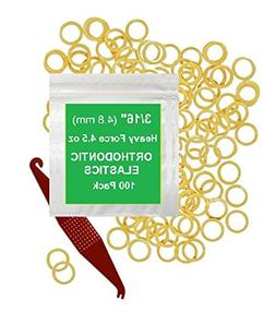 3/16 inch Orthodontic Elastic Rubber Bands 100 Pack Natural