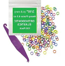 3/16 inch Orthodontic Elastic Rubber Bands 100 Pack Neon Hea