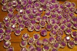 50pcs 10mm Clear Faceted Square Acrylic Beads w PURPLE BALLs