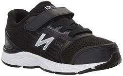 New Balance Boys' 680v5 Hook and Loop Running Shoe, Black/Wh