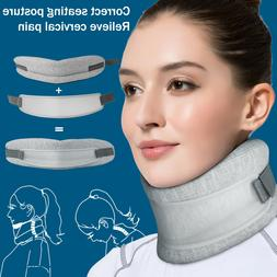 Adjustable 2-in-1 Neck Brace Collar Cervical Support Tractio