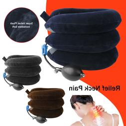 Air Inflatable Cervical Neck Traction Device Collar Brace Su