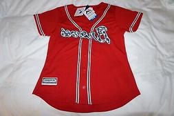 ATLANTA BRAVES WOMENS COOL BASE JERSEY LARGE SEWN STARS RED