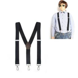 Mens Perry Belt Hook Y-Back Elastic Suspenders Black Heavy D