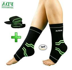 Compression Sleeve Ankle Brace & Adjustable Strap for Pain R
