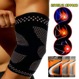 Copper Elbow Brace Fit Compression Sleeve Support Tendonitis