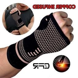 Copper Wrist Thumb Support Hand Palm Brace Carpal Tunnel Str