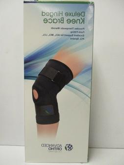 ADVANCED ORTHO DELUXE HINGED KNEE BRACE - LARGE BLACK - NEW