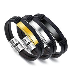 Fashion Male Accessories PU Leather Bracelet Stainless Steel