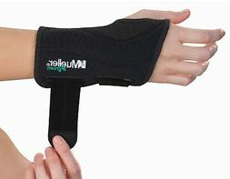 Mueller Fitted Wrist Brace, Black, Left Hand, Small/Medium