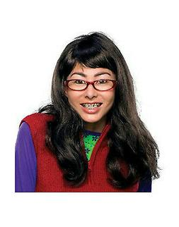 I'm Beautiful Ugly Betty Long Brown Wig Glasses Teeth with B