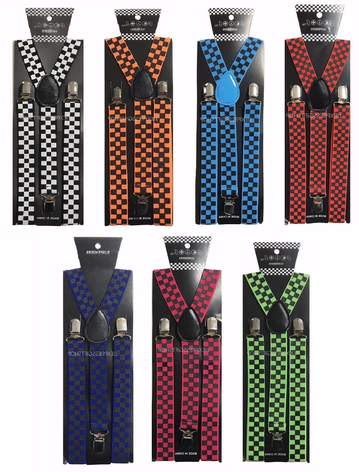 100+ Colors Mens Womens Clip-on Suspenders Adjustable