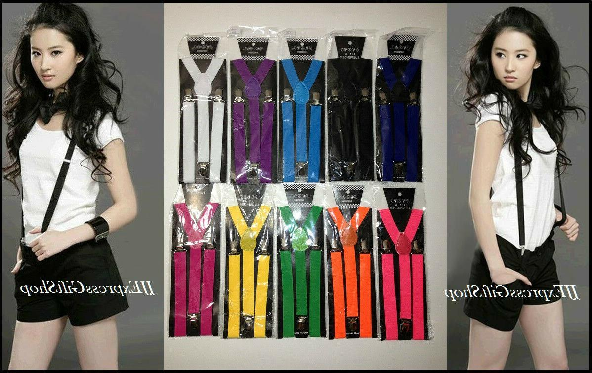 100 colors mens womens clip on suspenders