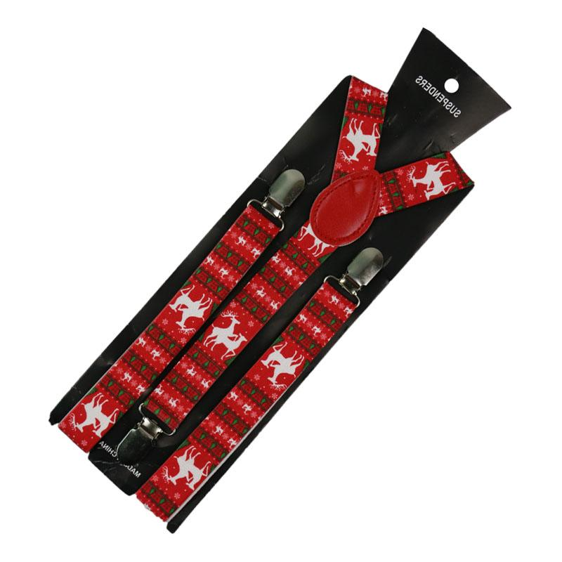 2019 New 2.5CM Wide Christmas Print Suspender Y-back Gifts