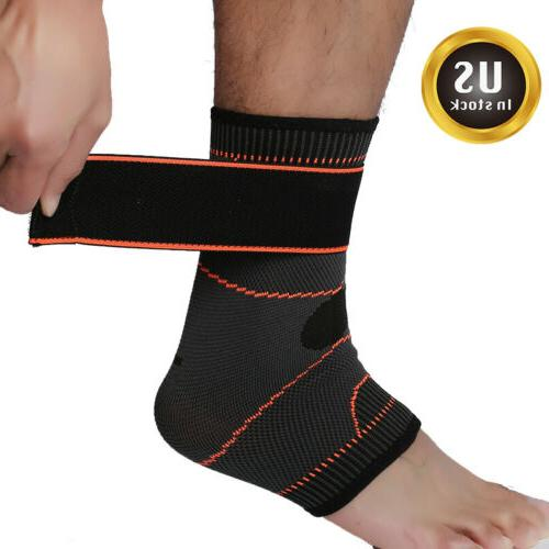 adjustable ankle brace support compression sleeve pain
