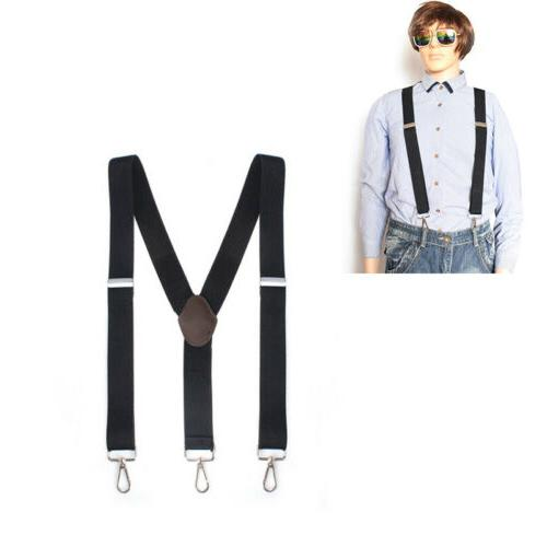black elastic clip on suspenders braces y