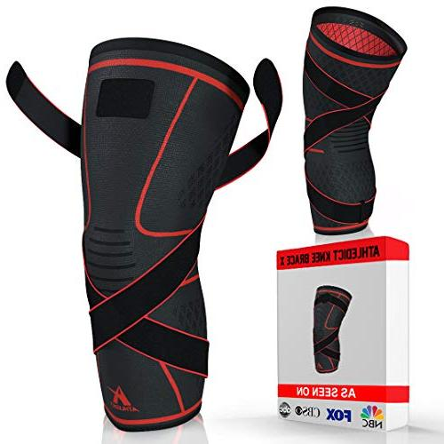 knee brace compression sleeve with strap