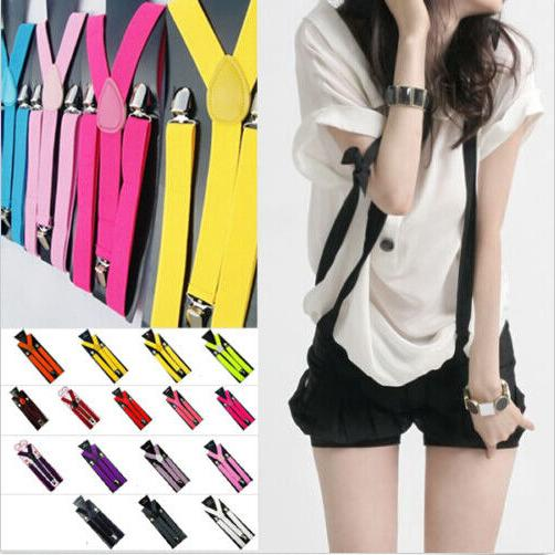 men women clip on suspenders elastic y