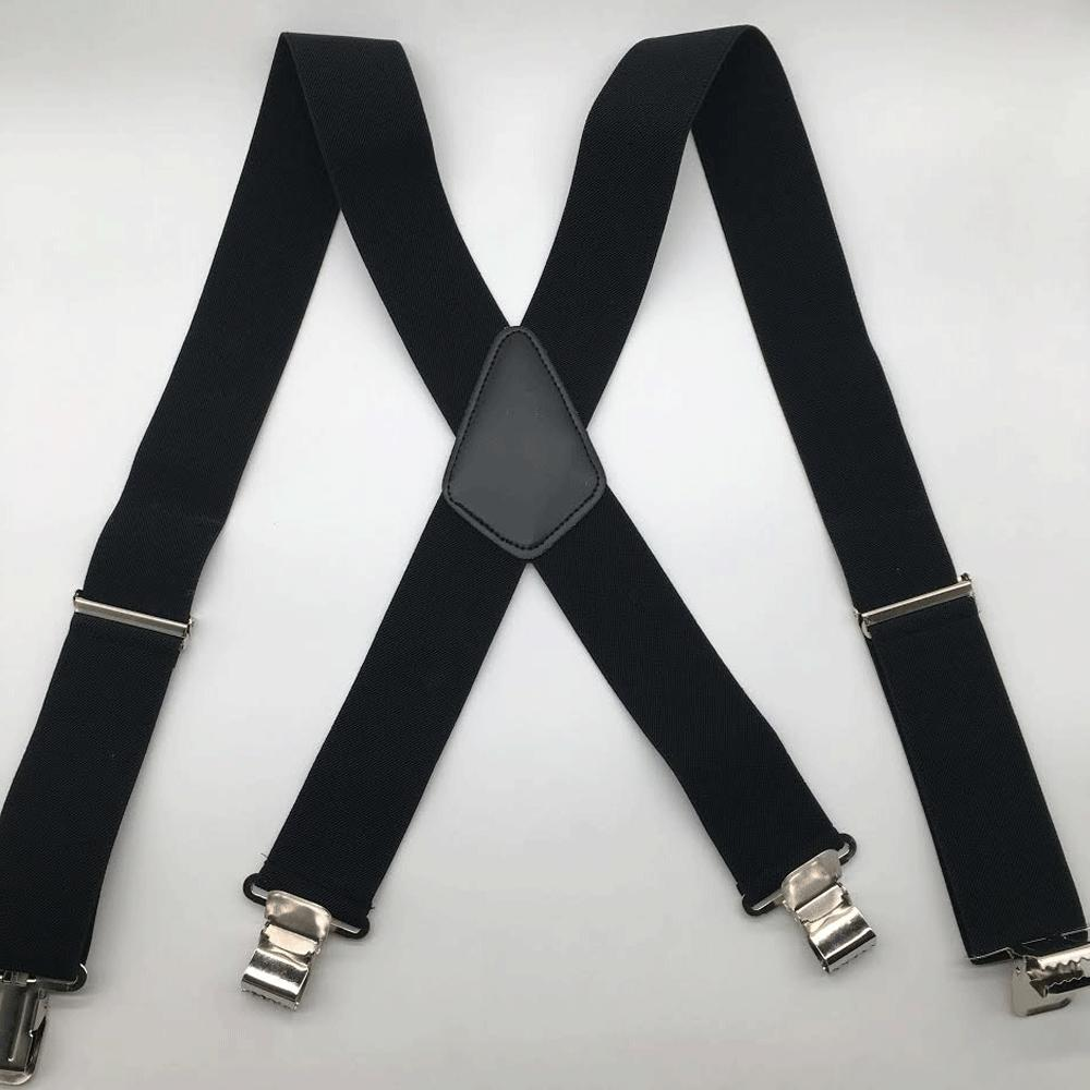 Mens Braces Suspenders Black 50mm Duty