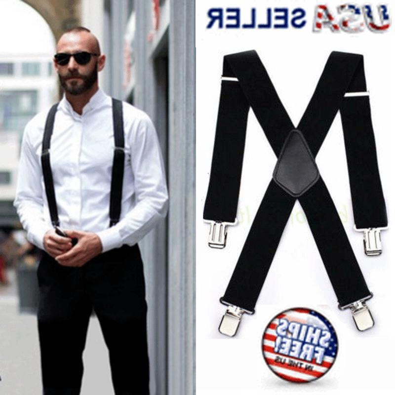 mens braces suspenders black 50mm x back