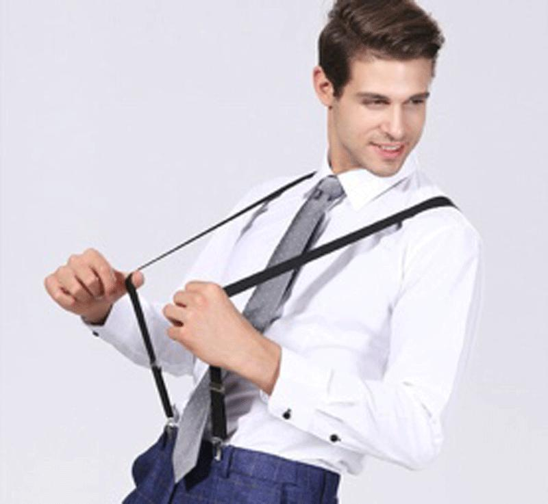 Mens Braces Suspenders Black 50mm Back Duty