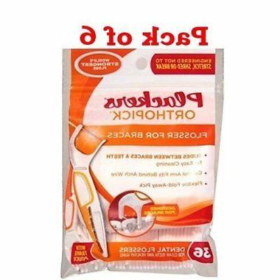 orthopick flosser for braces 36 count pack