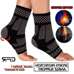 Magnetic Copper Ankle Support Brace Compression Sleeve Joint