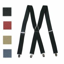 Men's Braces Adjustable Clip- On Suspenders Solid Color X- B
