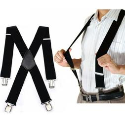 "Mens Braces Suspenders 2""  Wide Heavy Duty Work Biker Leathe"