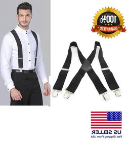 Mens Braces Suspenders Black 50mm X Back Heavy Duty Biker Sn