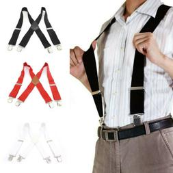 Mens Button Hole Classic Solid Elastic Suspenders Y-Shape Ad