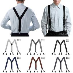 Mens Button Hole Suspenders Classic Solid Tuxedo Formal Y Ad