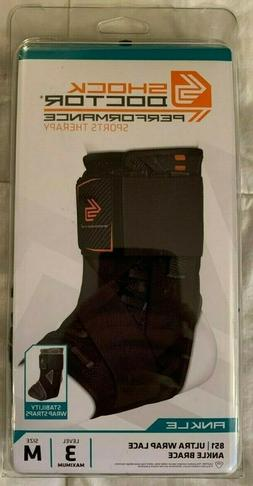 *NEW* Shock Doctor 851 Ultra Wrap Laced Ankle Brace Black Me
