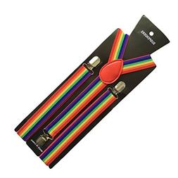 FENICAL Rainbow Solid Suspenders Y-Shape with 3 Clips Pant B