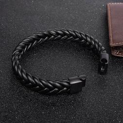 Trendy Braided Leather Bracelet Cuff Wrap Jewelry Gifts Acce